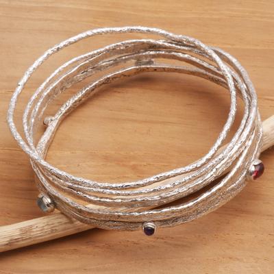 Moonstone and amethyst bangle bracelets, 'Free Spirit' (set of 5) - Modern Multigem Sterling Silver Bangle Bracelets (Set of 5)