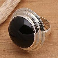 Onyx cocktail ring, 'Java Eclipse' - Round Onyx and Silver Cocktail Ring