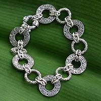 Sterling silver link bracelet, 'Unity Embrace' (7.25 inch) - Artisan Crafted Sterling Silver Link Bracelet (7.25 inch)