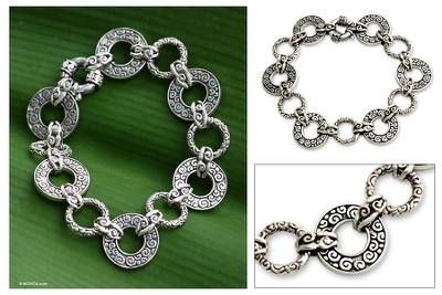 Sterling silver link bracelet, 'Unity Embrace' (7.25 inch) - Artisan Crafted Sterling Silver Link Bracelet