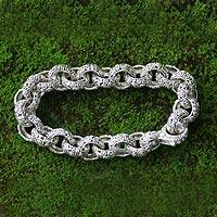 Men's sterling silver link bracelet, 'Inseparable'