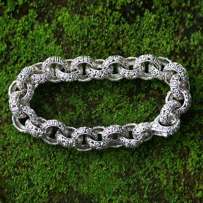 Men's sterling silver link bracelet, 'Inseparable' - Men's Sterling Silver Link Bracelet