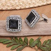 Onyx cufflinks, 'Intensity' - Onyx cufflinks