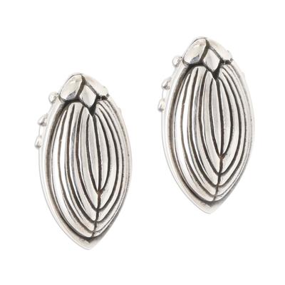 Sterling silver button earrings