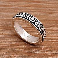 Sterling silver band ring, 'Young Fern' - Unique Indonesian Sterling Silver Band Ring