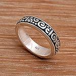 Unique Indonesian Sterling Silver Band Ring, 'Young Fern'