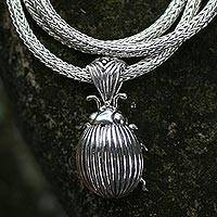 Sterling silver pendant necklace, 'Lucky Beetle'