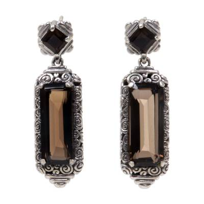 Smoky quartz dangle earrings, 'Paradise Lantern' - Smoky Quartz and Sterling Silver Dangle Earrings