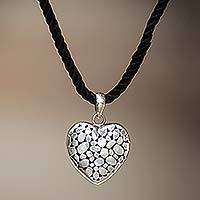 Sterling silver pendant necklace, 'My Loving Heart' - Indonesian Heart Shaped Sterling Silver Pendant Necklace