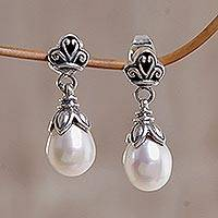 Pearl dangle earrings, 'White Lotus Bud' - Sterling Silver Pearl Dangle Earrings