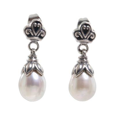 Pearl dangle earrings, 'White Lotus Bud' - Sterling Silver Pearl Dangle Earrings