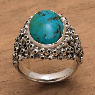 Men's turquoise ring, 'Living Coral' - Men's Hand Made Silver and Turquoise Ring from Indonesia