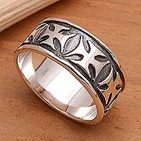 Men's sterling silver band ring, 'Positive'