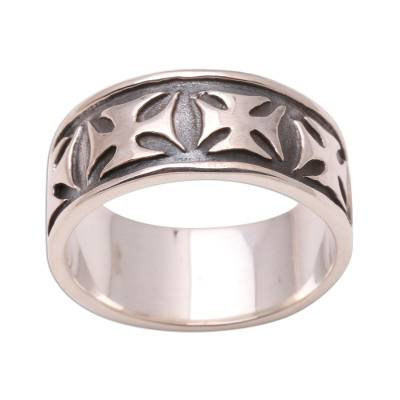 Men's sterling silver band ring, 'Positive' - Men's Sterling Silver Cross Ring