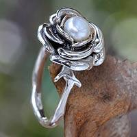 Pearl flower ring, 'White Rose' - Hand Crafted Sterling Silver and Pearl Flower Ring