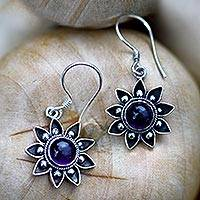 Amethyst dangle earrings, 'Sunflowers' - Unique Handcrafted Floral Earrings
