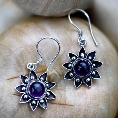 Amethyst dangle earrings, 'Sunflowers' - Floral Sterling Silver Amethyst Earrings