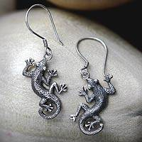 Sterling silver dangle earrings, 'Gecko Shuffle' - Sterling Silver Lizard Earrings