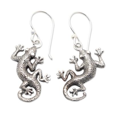 Sterling silver dangle earrings, 'Gecko Shuffle' - Sterling Silver Lizard Earrings