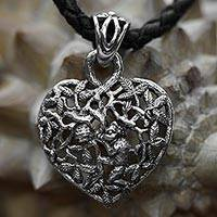 Sterling silver heart necklace, 'Love of Nature'