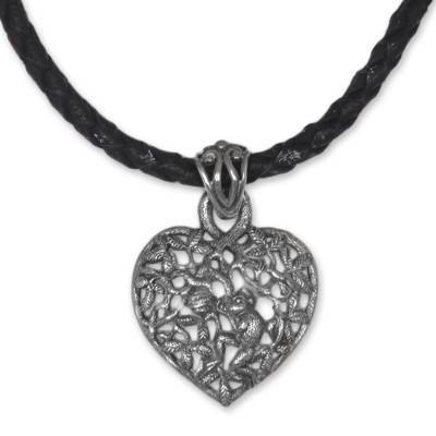 Sterling silver heart necklace, 'Love of Nature' - Sterling Silver and Leather Heart Necklace