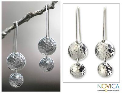 Sterling silver dangle earrings, 'Magical Shields' - Sterling Silver Dangle Earrings