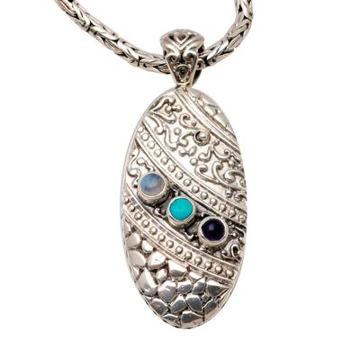 Amethyst and labradorite pendant necklace, 'Regal Fantasy' - Sterling Silver and Labradorite Pendant Necklace