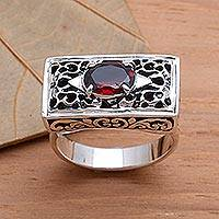 Garnet filigree ring, 'Royal Coronation'