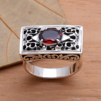 Sterling Silver and Garnet Ring