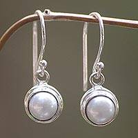 Cultured pearl dangle earrings, 'Full Moon'