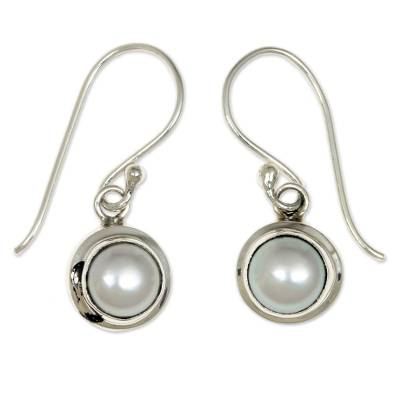 Sterling Silver and Pearl Dangle Earrings
