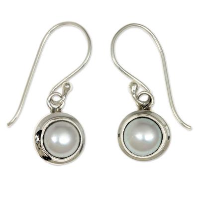 Cultured pearl dangle earrings, 'Full Moon' - Sterling Silver and Pearl Dangle Earrings