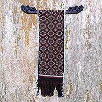 Cotton ikat wall hanging, 'My Belief' - Hand Crafted Red Cotton Ikat Tapestry