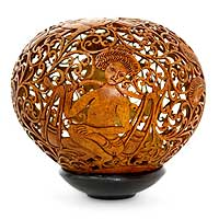 Coconut shell sculpture, 'Water Jars' - Fair Trade Cultural Coconut Shell Sculpture