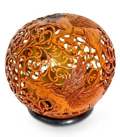 Hand Carved Coconut Shell Sculpture with Stand