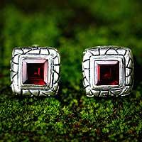 Garnet button earrings, 'Certainty'