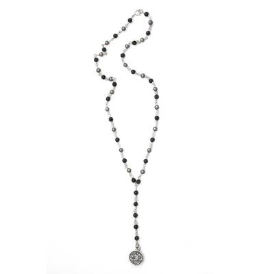 Pearl and onyx Y necklace, 'Good Fortunes' - Sterling Silver Y Necklace with Pearls and Onyx