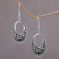 Sterling silver dangle earrings, 'Indonesia Glam' - Fair Trade Indonesian Sterling Silver and Quartz Earrings