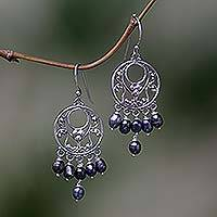 Pearl chandelier earrings, 'Dark Moonbeams' - Pearl Sterling Silver Chandelier Earrings