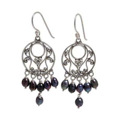 Pearl Sterling Silver Chandelier Earrings
