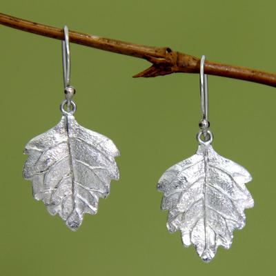 Sterling silver dangle earrings, 'Glistening Leaves' - Fair Trade Sterling Silver Leaf Earrings