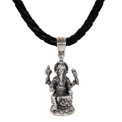 Men's sterling silver and leather necklace, 'Ganesha' - Men's Sterling Silver Pendant Necklace
