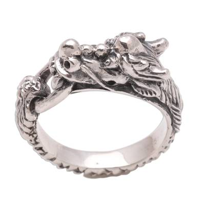 Men's sterling silver ring, 'Flying Dragon' - Men's Sterling Silver Band Ring