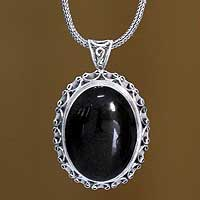 Onyx pendant necklace, 'Midnight Lace'
