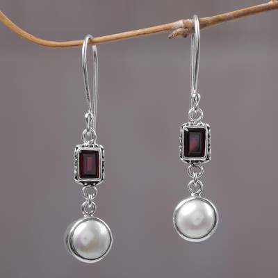 Pearl & garnet dangle earrings, 'Pure Passion' - Pearl and Garnet Sterling Silver Earrings