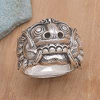 Men's sterling silver band ring, 'Rangda' - Men's Artisan Crafted Sterling Silver Band Ring