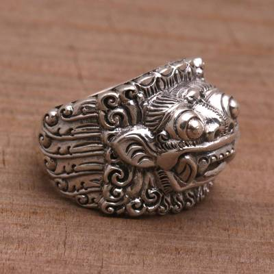 Men's sterling silver band ring, 'Barong Hero' - Men's sterling silver band ring