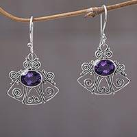 Amethyst dangle earrings, 'Balinese Bell' - Dangling Amethyst Earrings