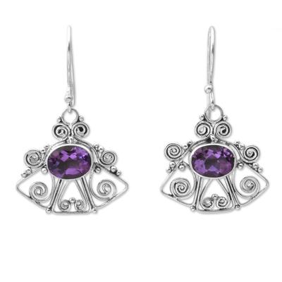 Amethyst dangle earrings, 'Balinese Bell' - Amethyst dangle earrings