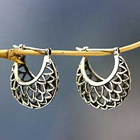 Sterling silver hoop earrings, 'Lotus Halo' - Artisan jewellery Sterling Silver Hoop Earrings